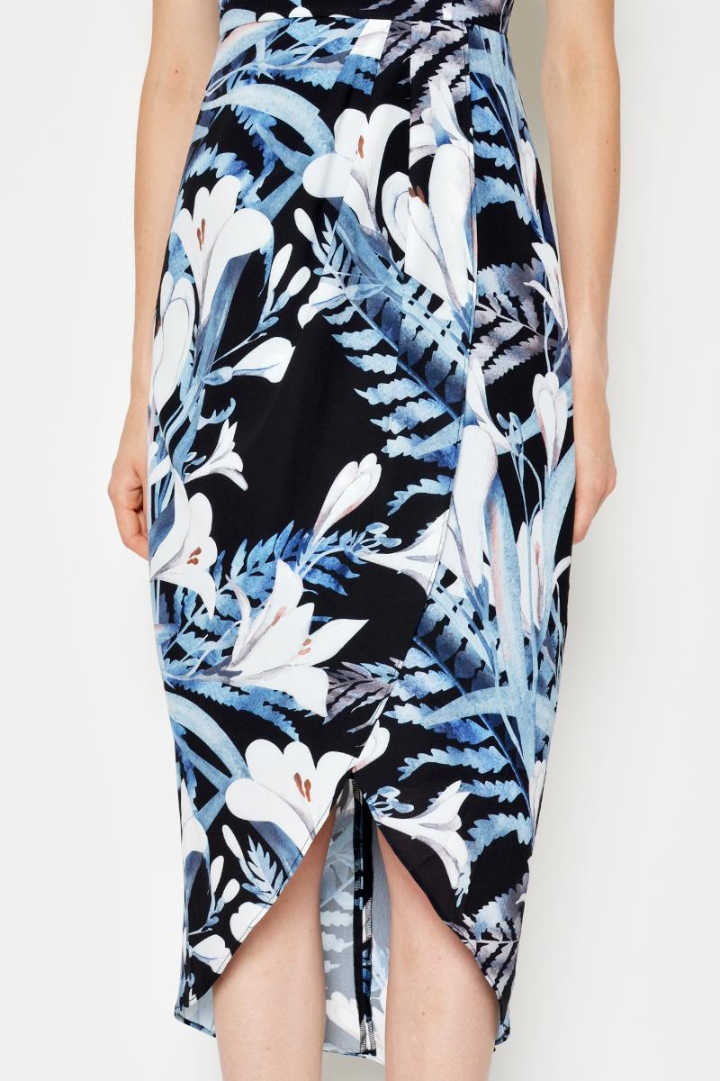 DANETTE FLORAL FOLDOVER DRESS BLACK