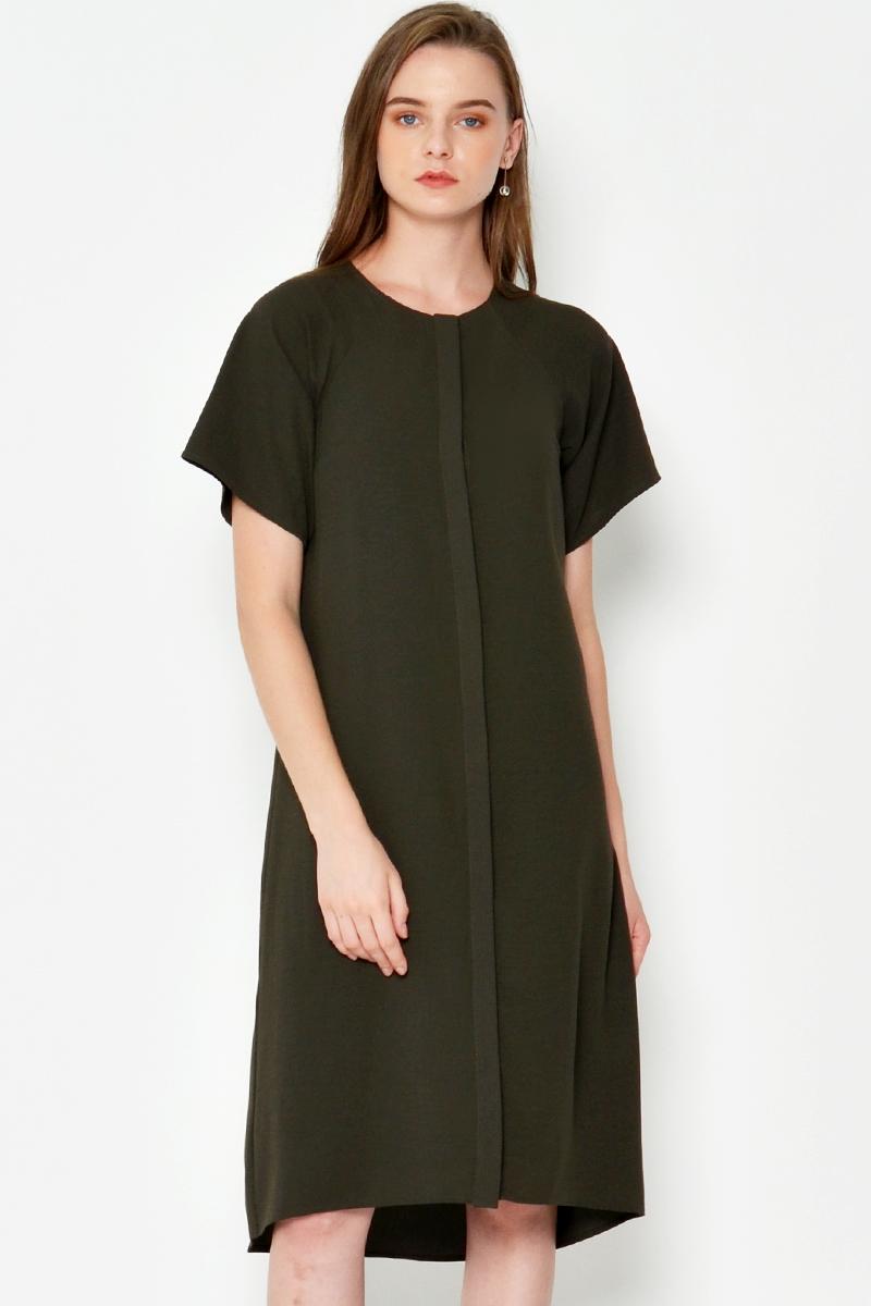 CARTER DRESS W SASH OLIVE