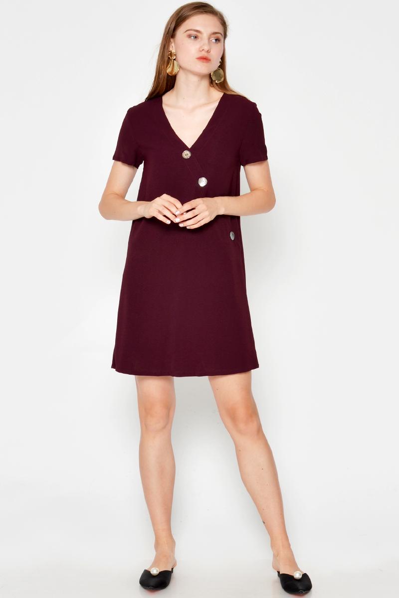 MADDIE SLANT BUTTON DRESS
