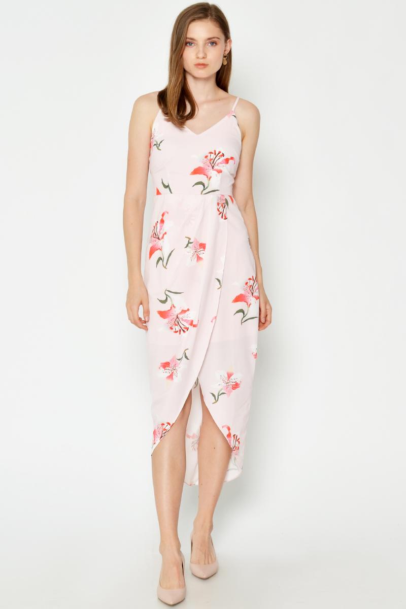 MEREDITH FLORAL FOLDOVER DRESS PINK