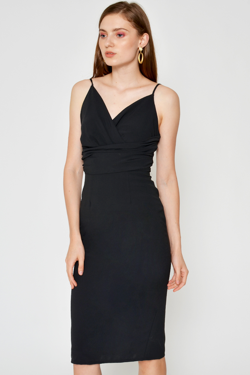 ABIGAEL RUCHED MIDI DRESS