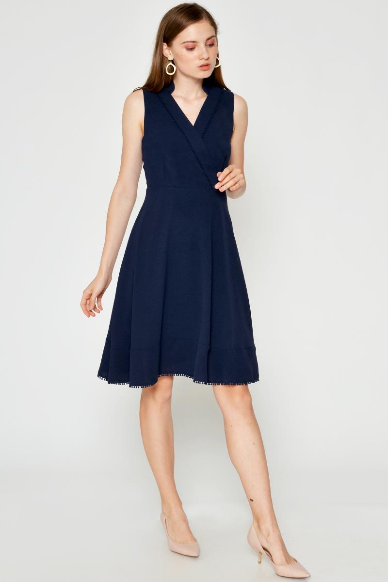 CYNTHIA POM POM TRIMMING FLARE DRESS