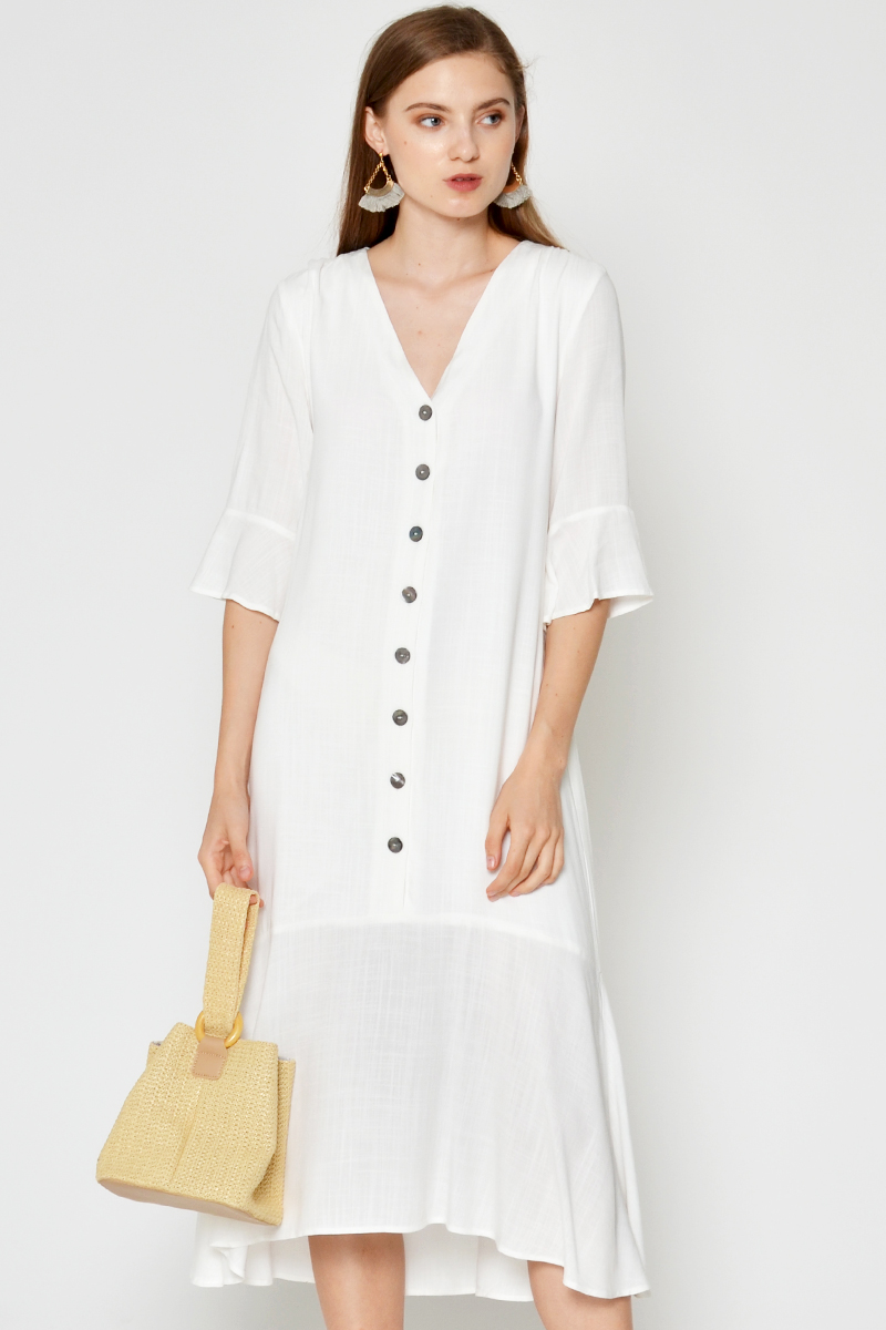 AYANNA BUTTONDOWN DROPWAIST MIDI DRESS