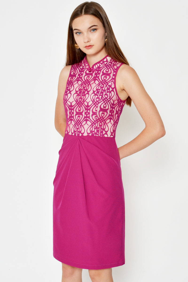 PHORIE ORIENTAL LACE RUCHED CHEONGSAM