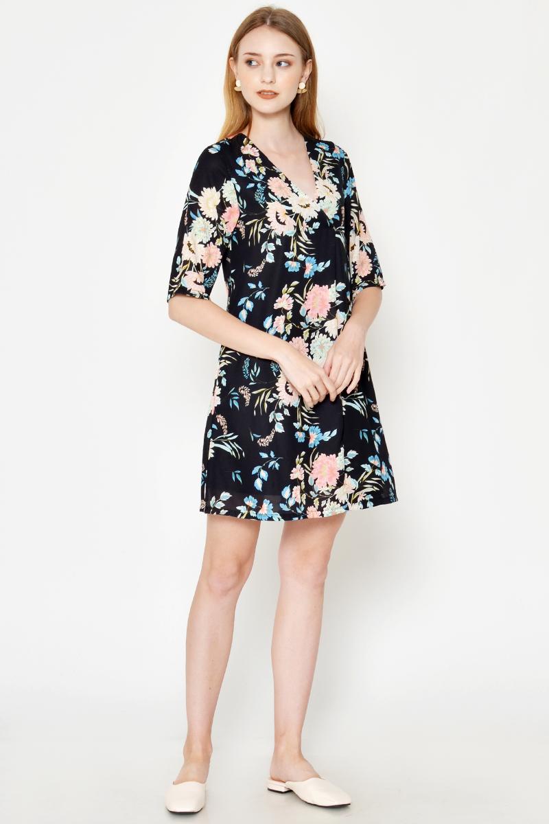 KORINA FLORAL FLARE DRESS