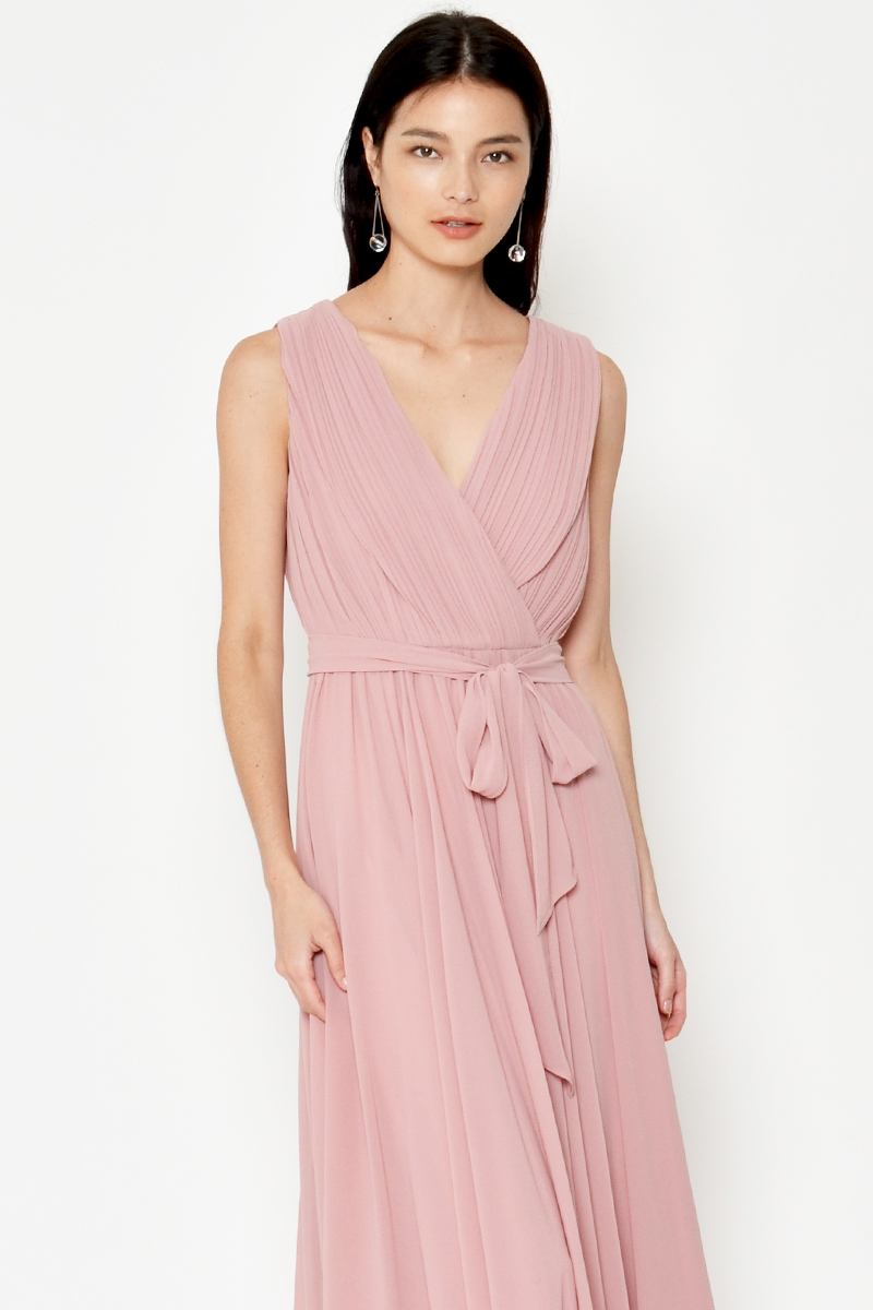 GABBIE PLEATED WRAP DRESS W SASH