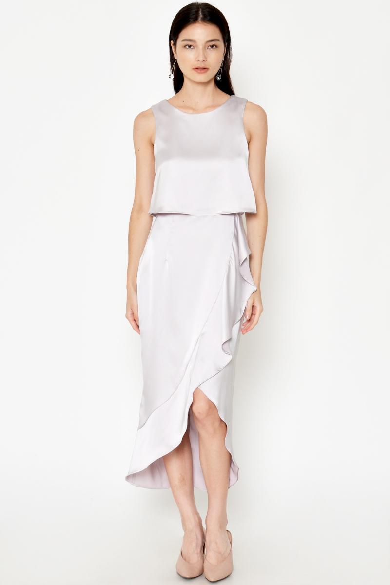 PRINCETON ASYMMETRICAL LAYERED RUFFLE DRESS