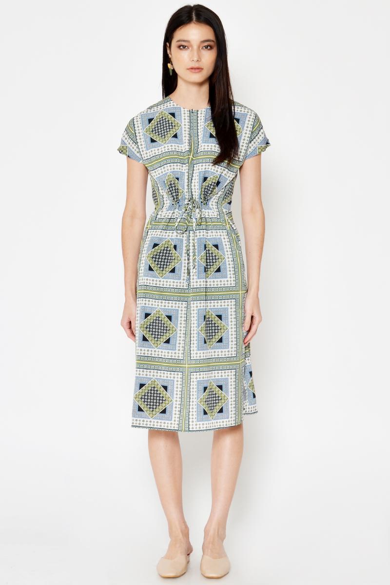 NELDI ABSTRACT DRAWSTRING DRESS