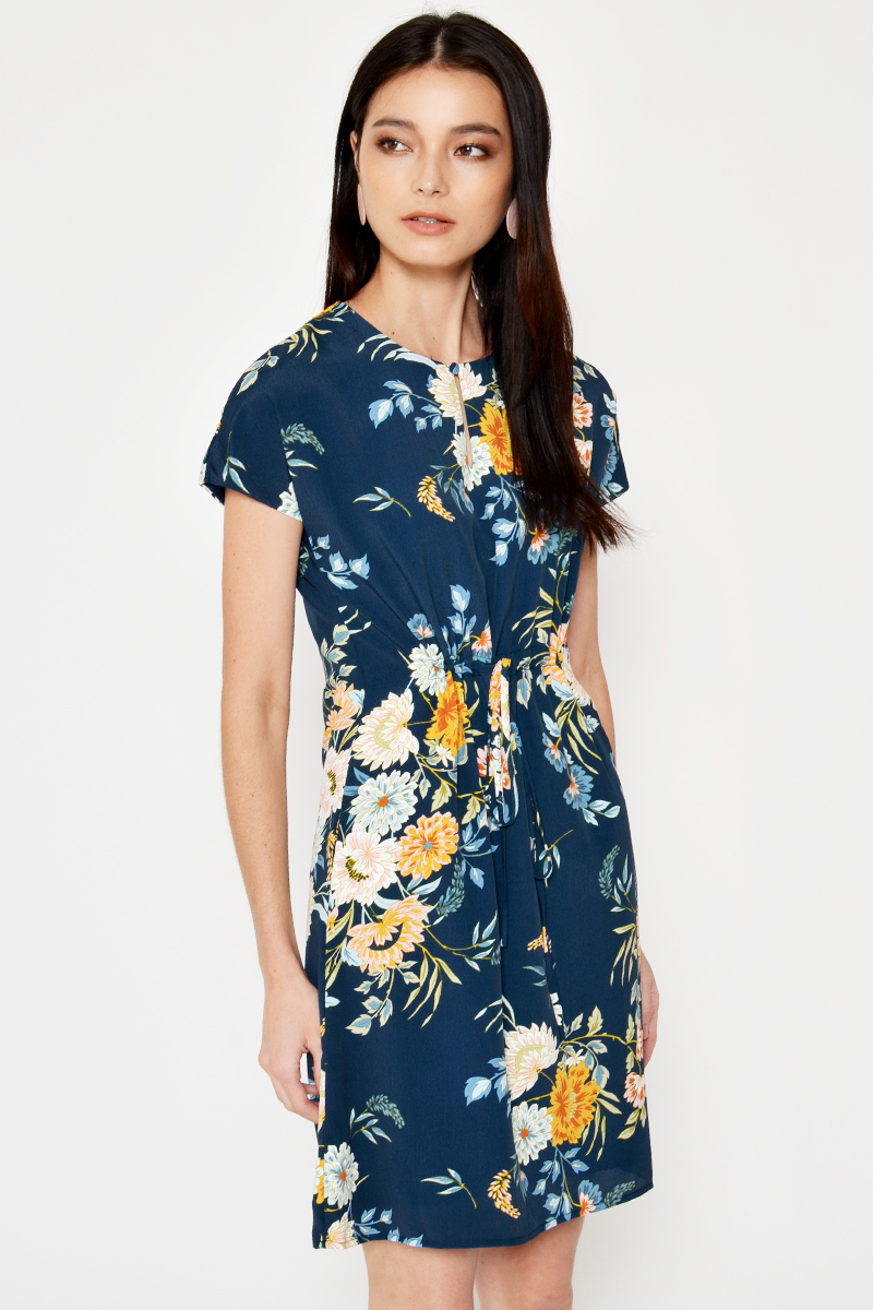 MARLEY FLORAL DRAWSTRING DRESS