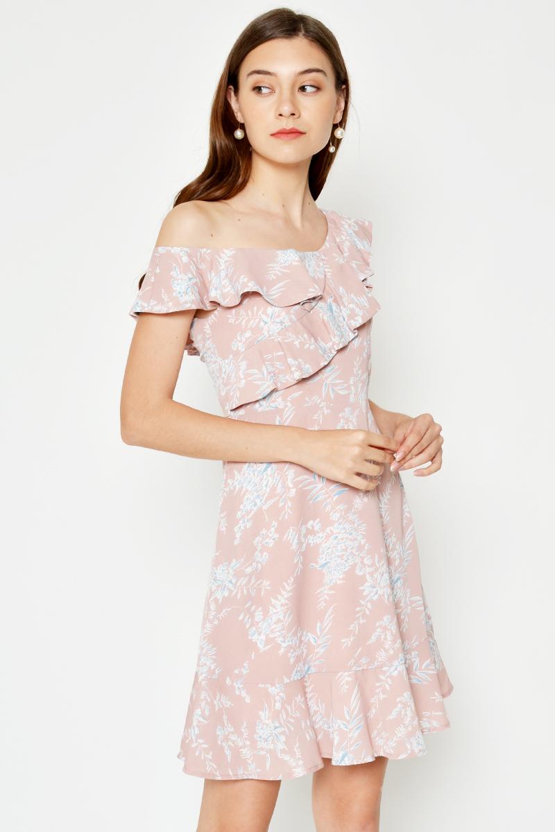 BRYNLEE FLORAL TOGA FLARE DRESS