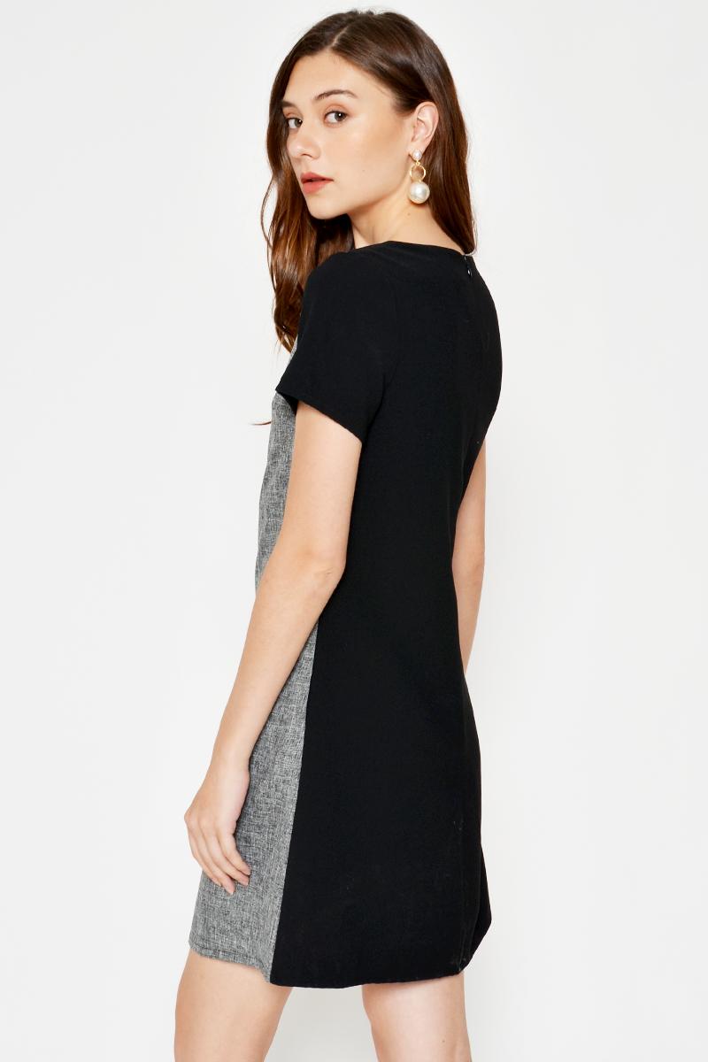 PHYLLIS CONTRAST TWEED SHIFT DRESS