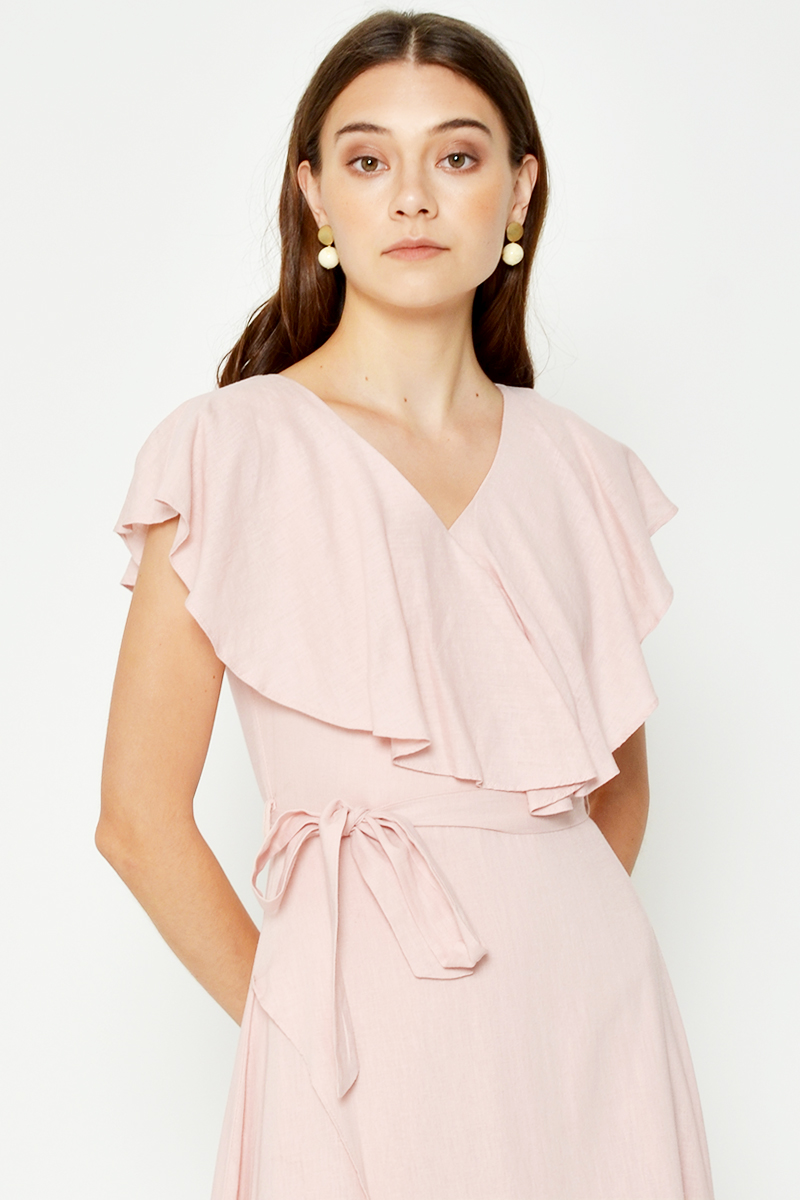 BAYRI LAYERED WRAP MIDI DRESS W SASH
