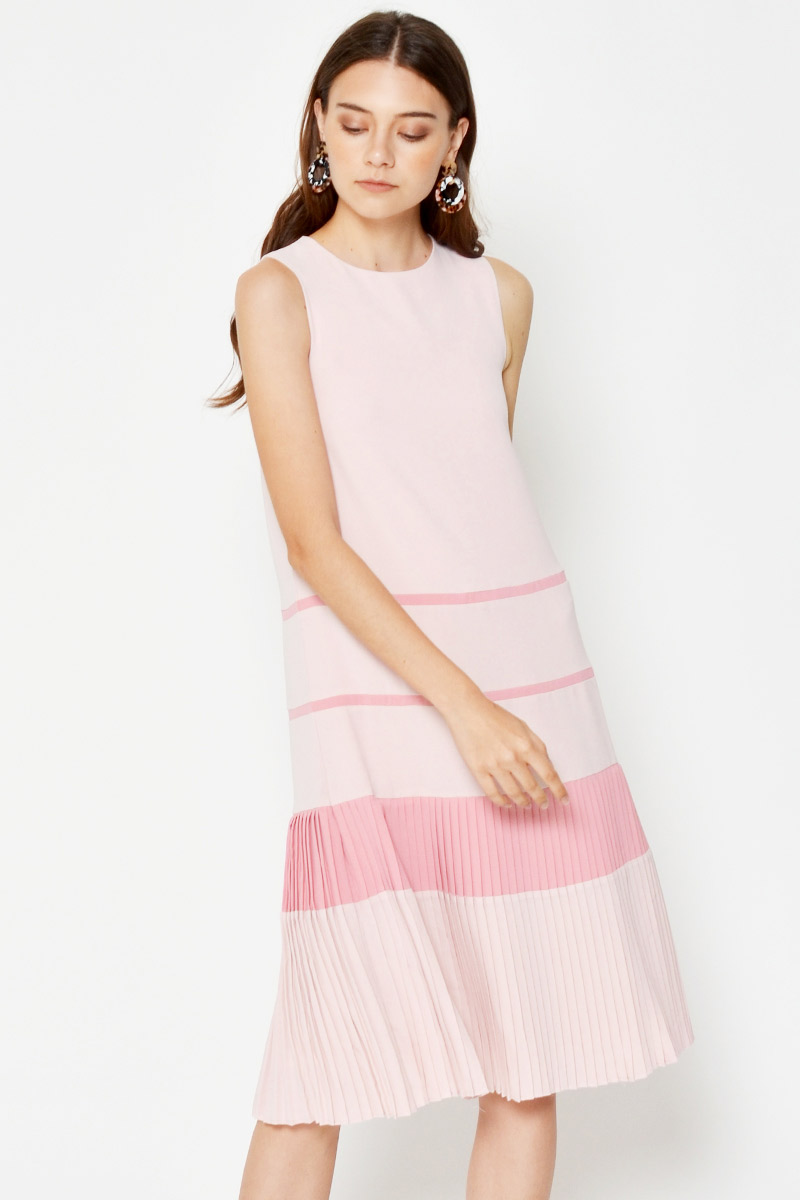 YOLANDA COLOURBLOCK PLEATED HEM MIDI DRESS