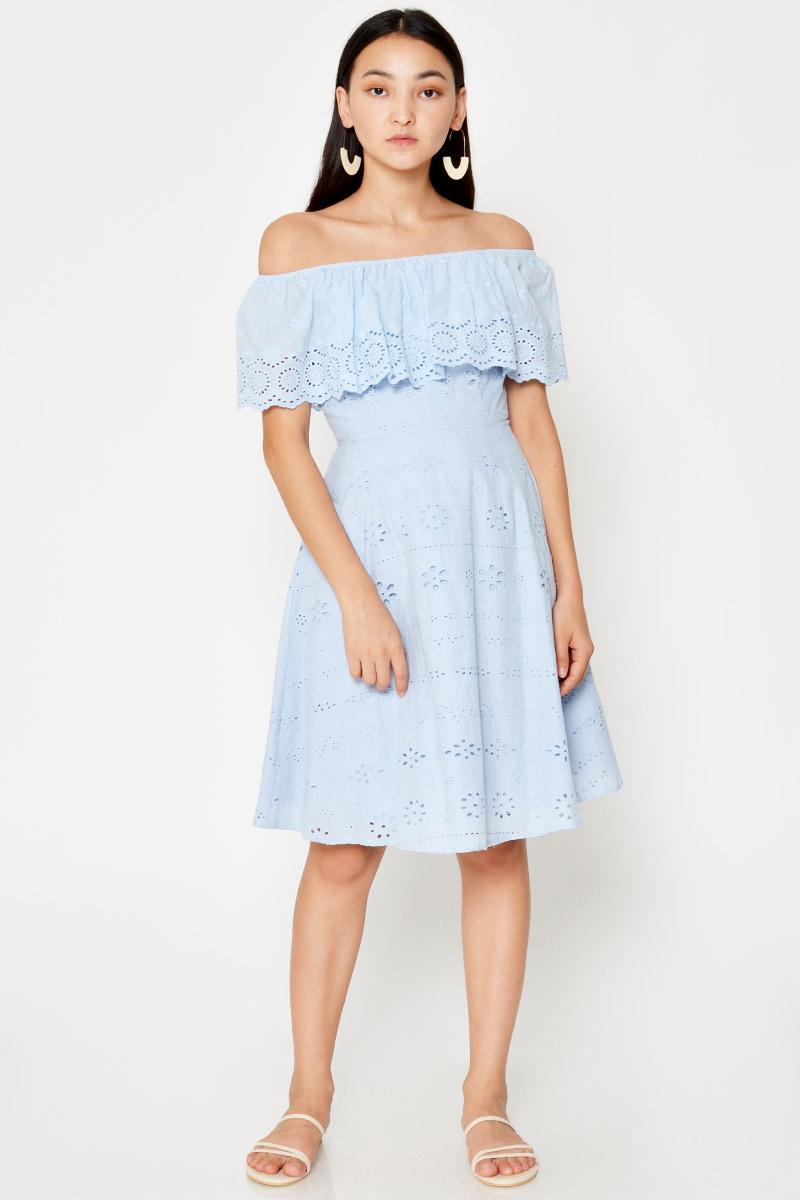ALAINA OFF SHOULDER EYELET FLARE DRESS