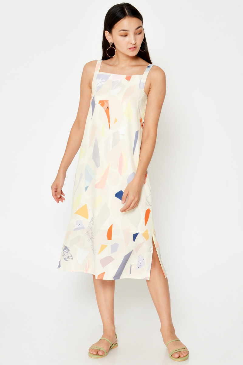 PERLIN ABSTRACT MIDI DRESS