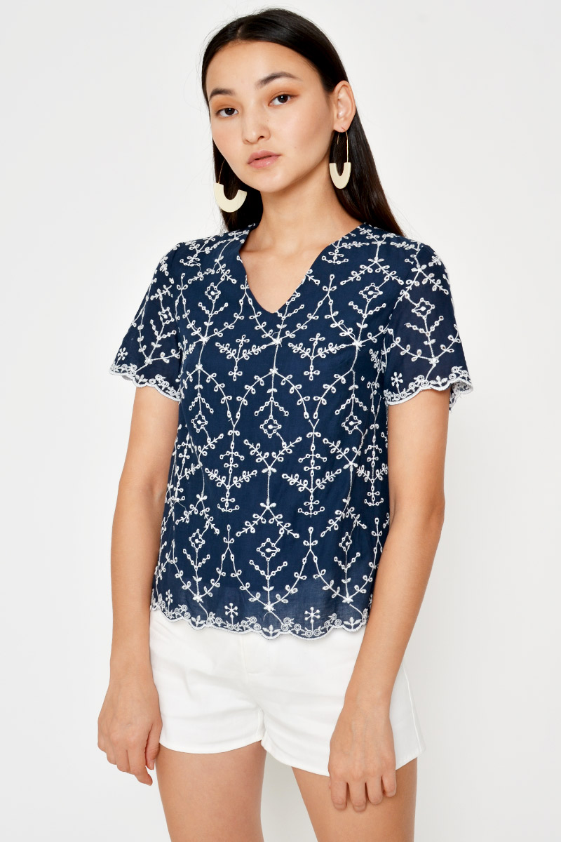 RHYS EMBROIDERY EYELET TOP