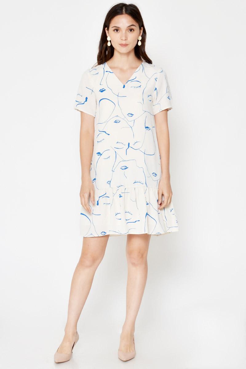 JOEI ABSTRACT FACES PRINT DROPWAIST DRESS