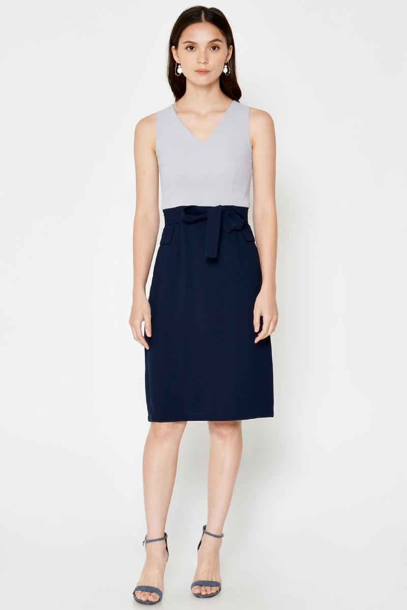 SHERLAIN COLOURBLOCK SHEATH DRESS W SASH