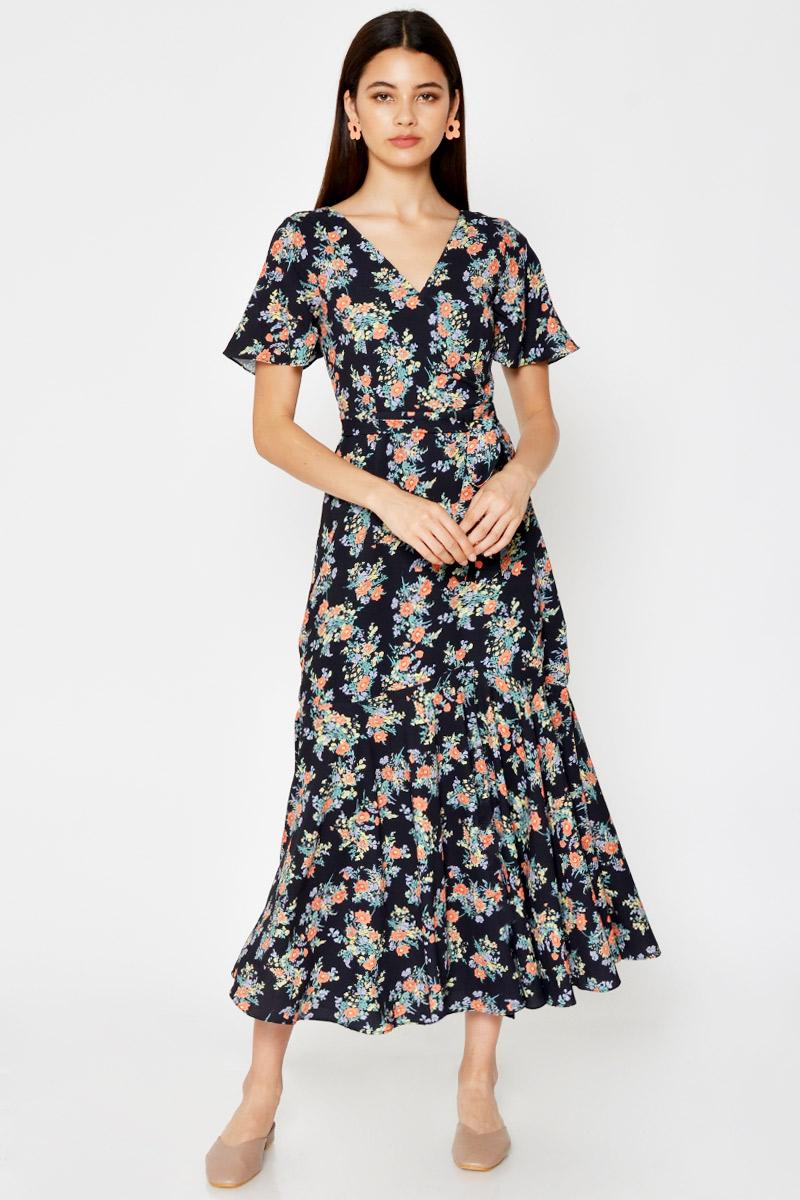 ESTHER FLORAL MAXI DRESS W SASH