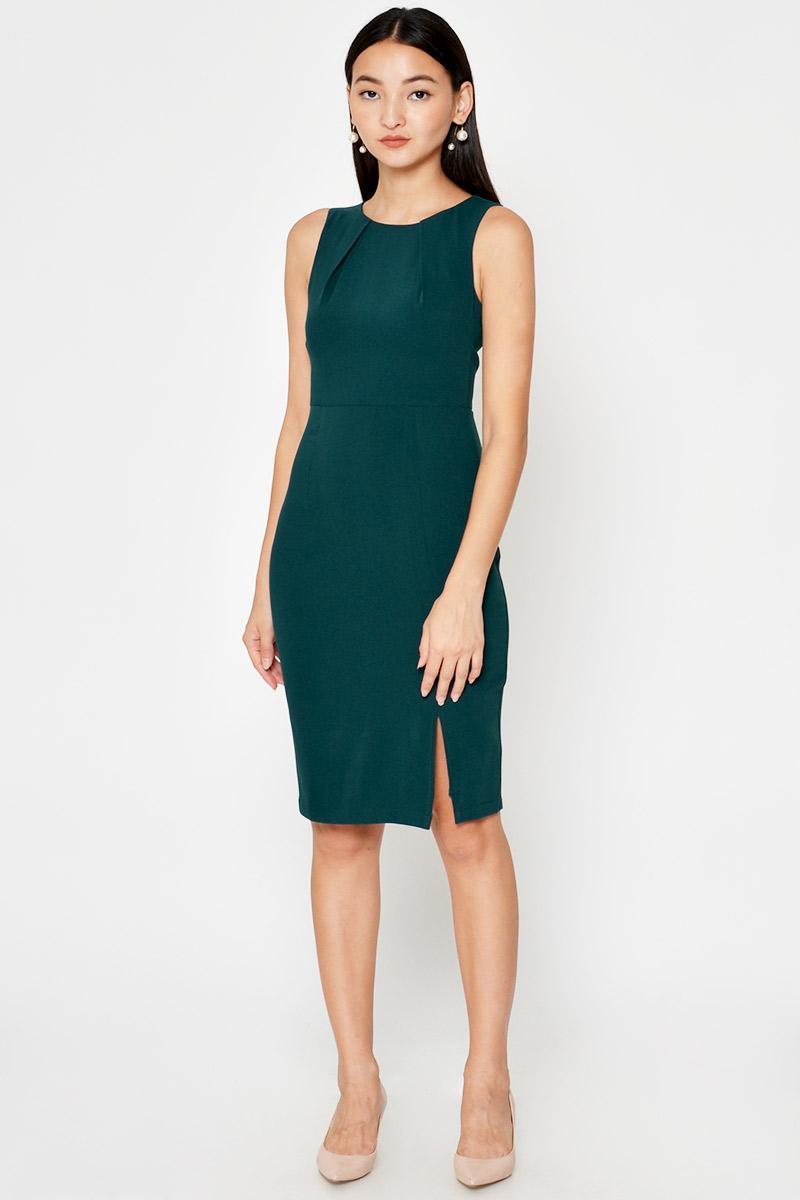 KELLAN FRONT SLIT SHEATH DRESS