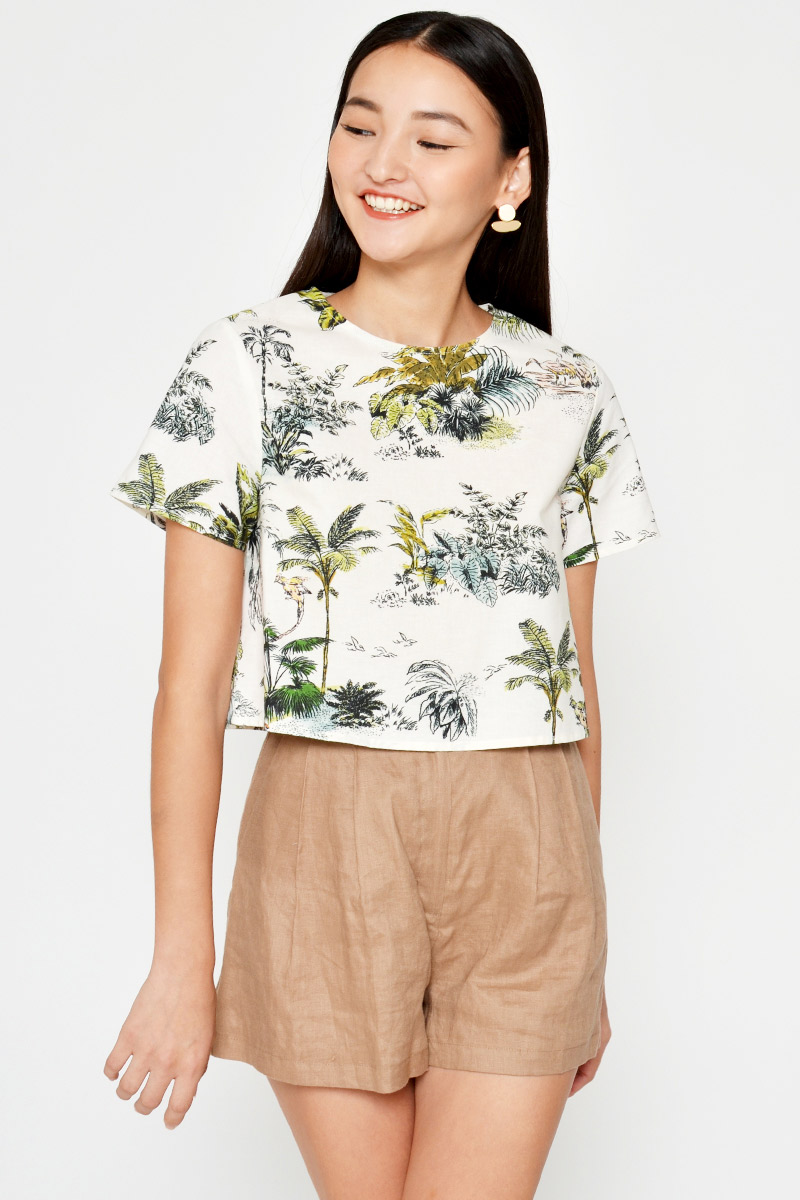 KSENIA PALM TREES LINEN TOP