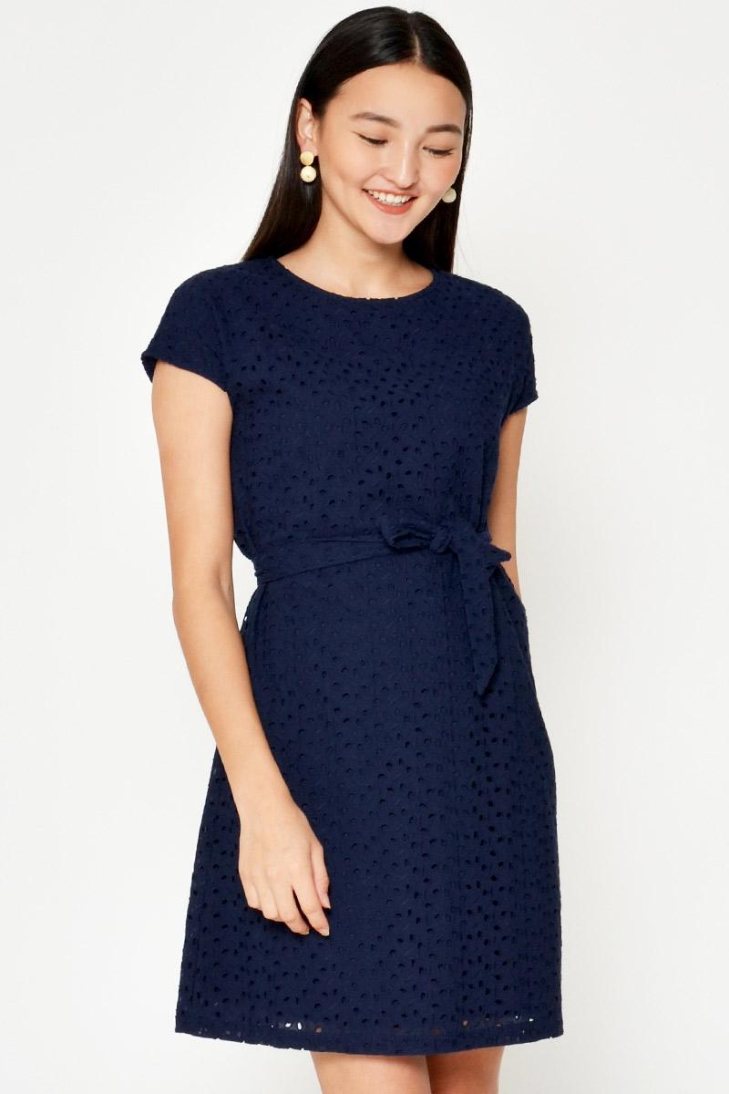 MILLICENT EYELET SHIFT DRESS W SASH