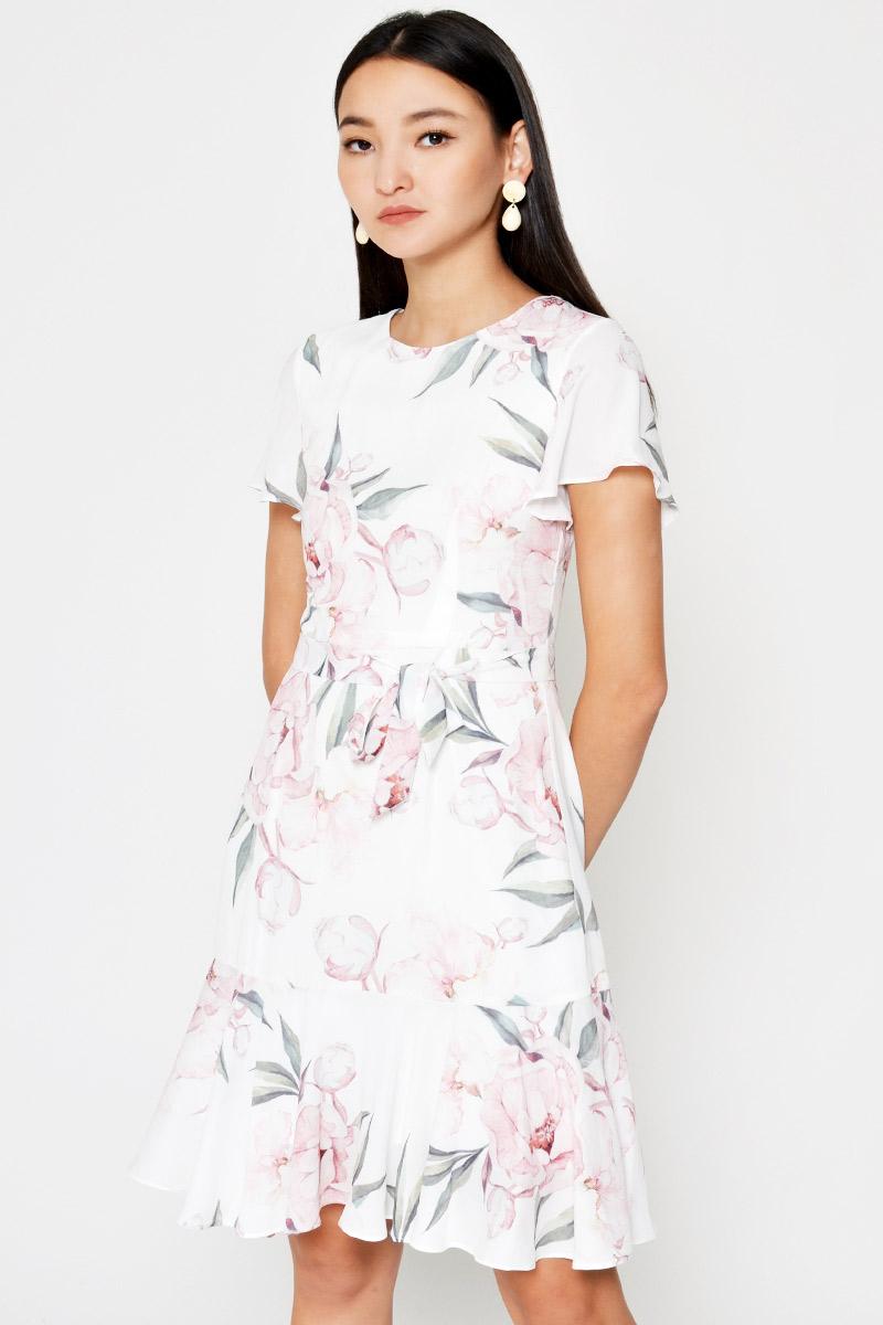 HEIDI FLORAL FLARE DRESS W SASH