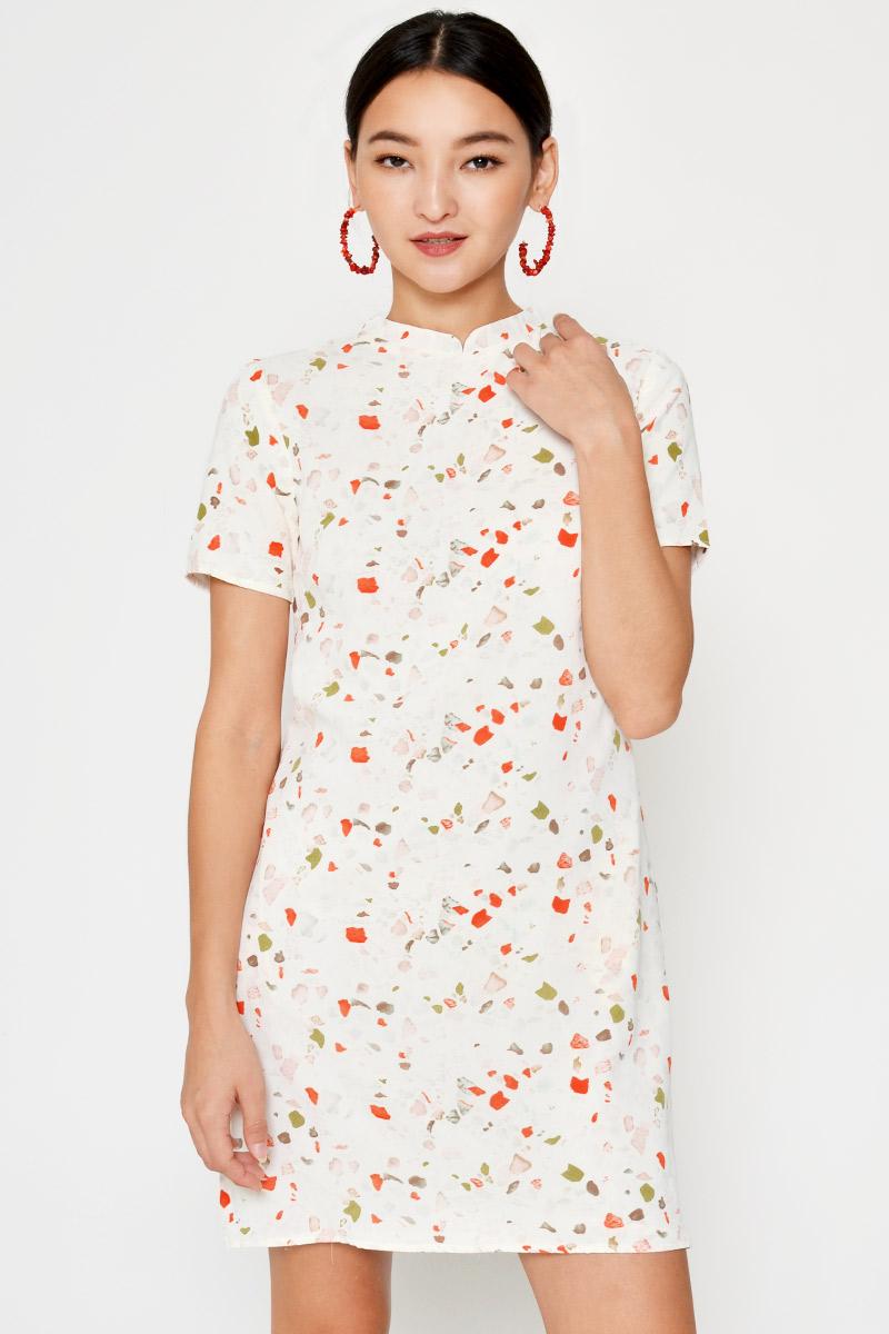 KARLA TERRAZZO CHEONGSAM SHIFT DRESS