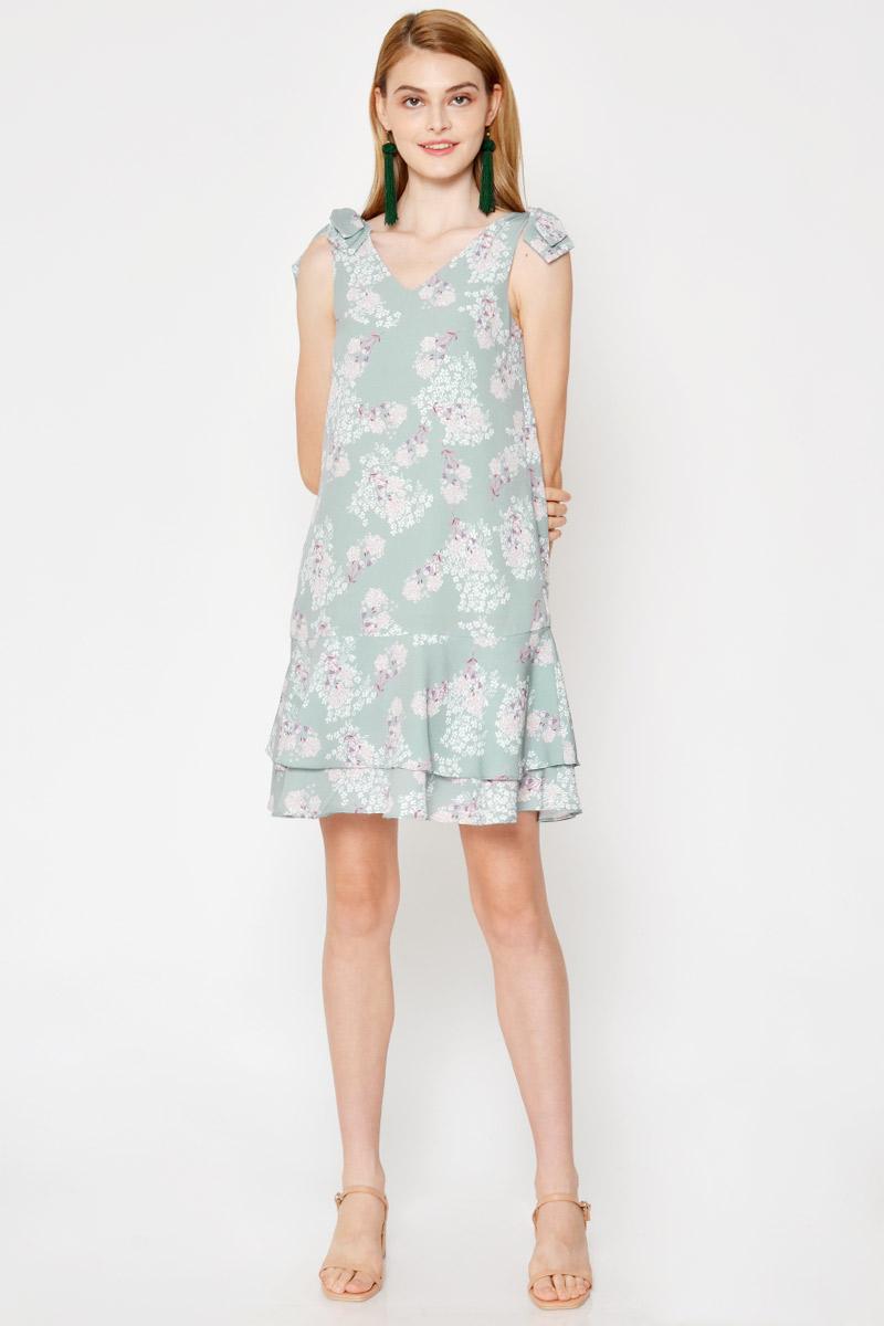 DRUSILLA FLORAL SHOULDER BOW LAYERED DRESS