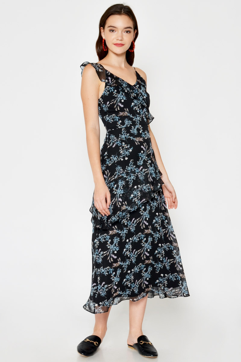 SERAPHINE FLORAL RUFFLE LAYERED MAXI DRESS