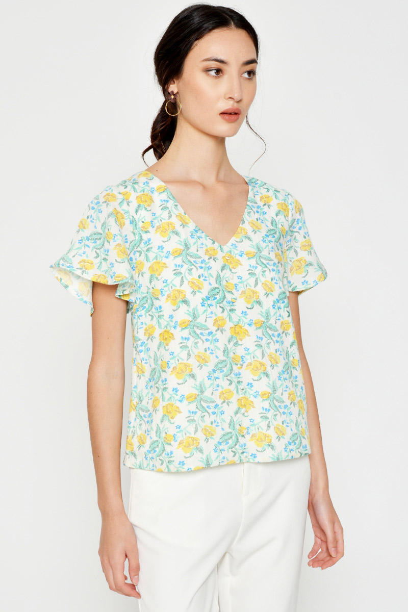 GWENYTH CROSS STITCHED FLORAL TOP