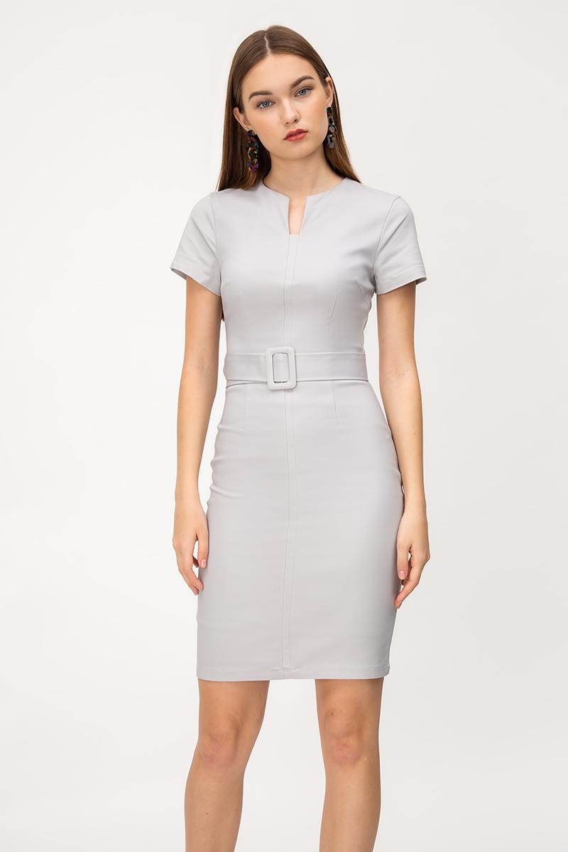 ELIZA NOTCH NECKLINE DRESS W BUCKLE