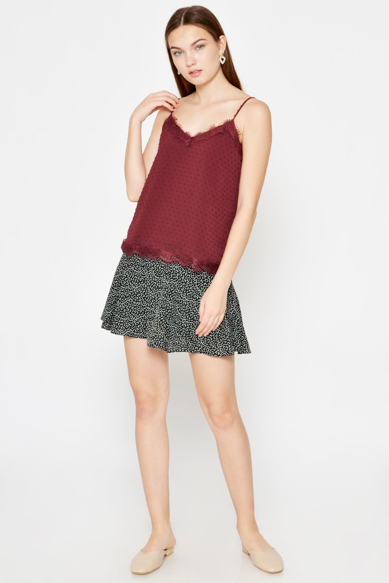 ELLSEY CHIFFON DOT LACE CAMI TOP