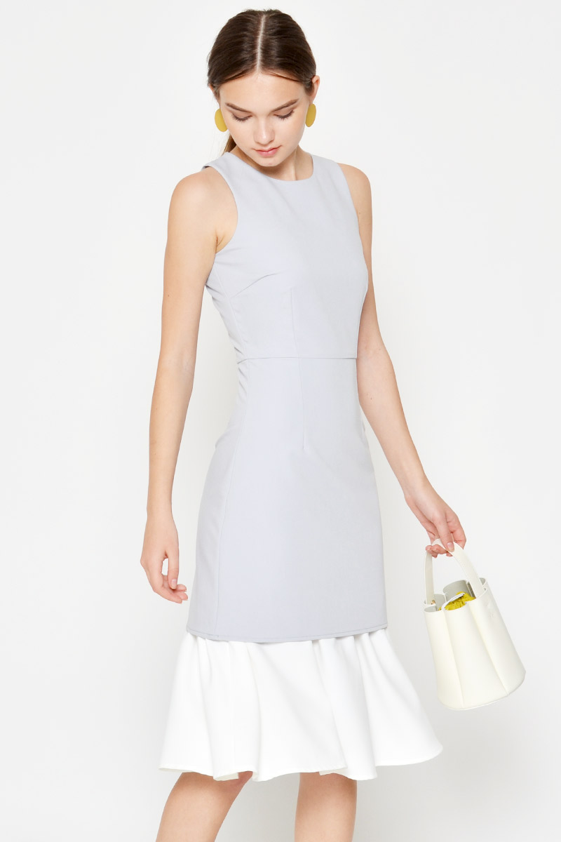PIETRO COLOURBLOCK FLOUNCE DRESS