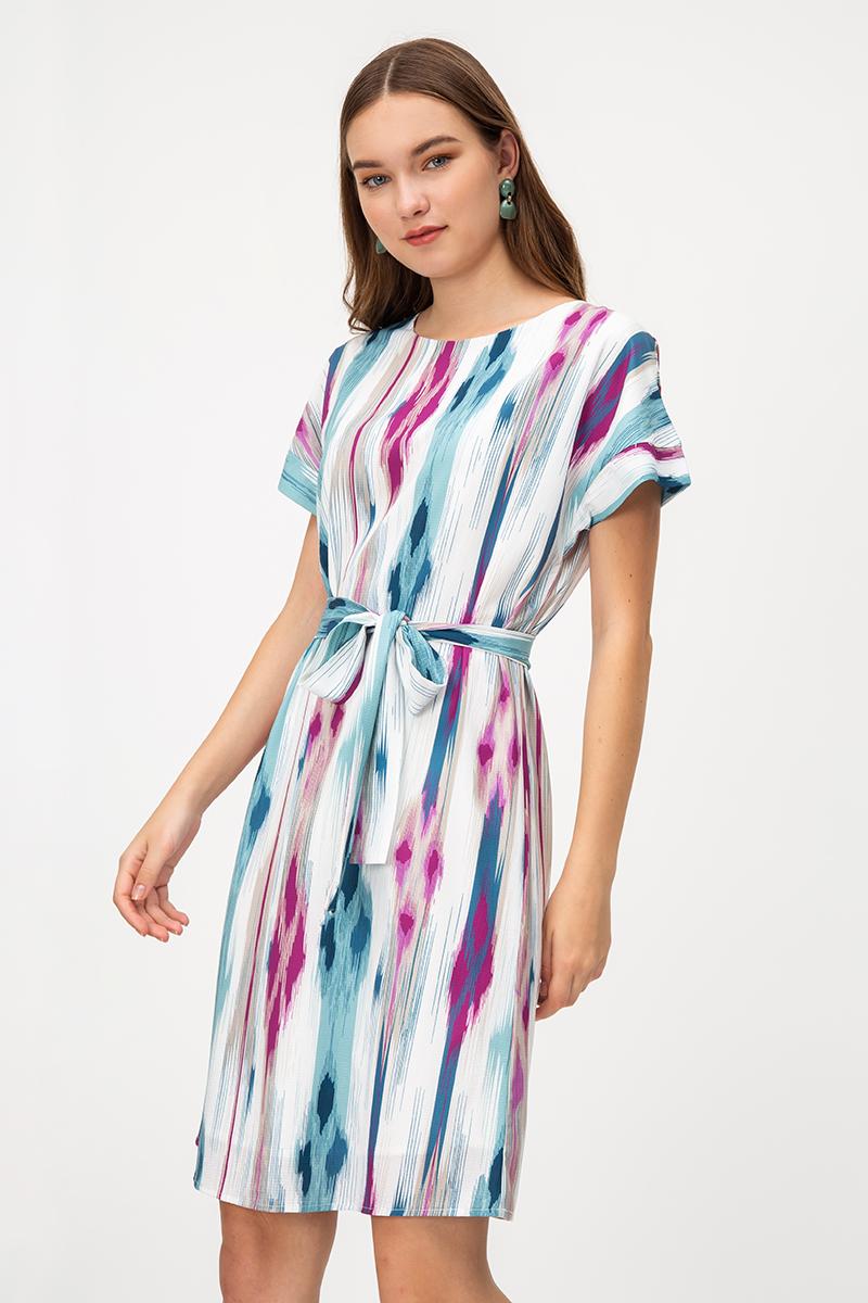 BRYSSA ABSTRACT DRESS W SASH