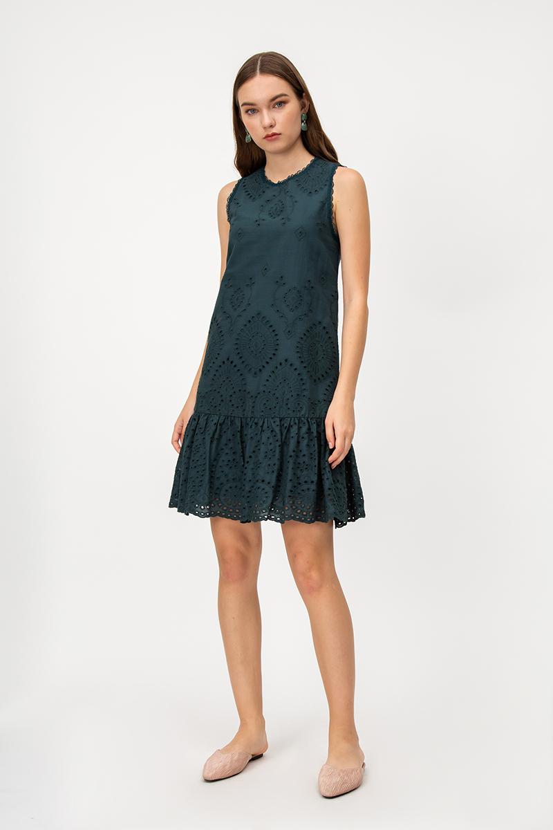 KAZIO EYELET DROPWAIST DRESS
