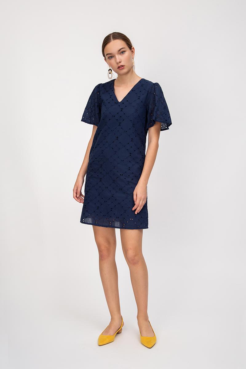 ELAINE EYELET FLARE SLEEVE DRESS