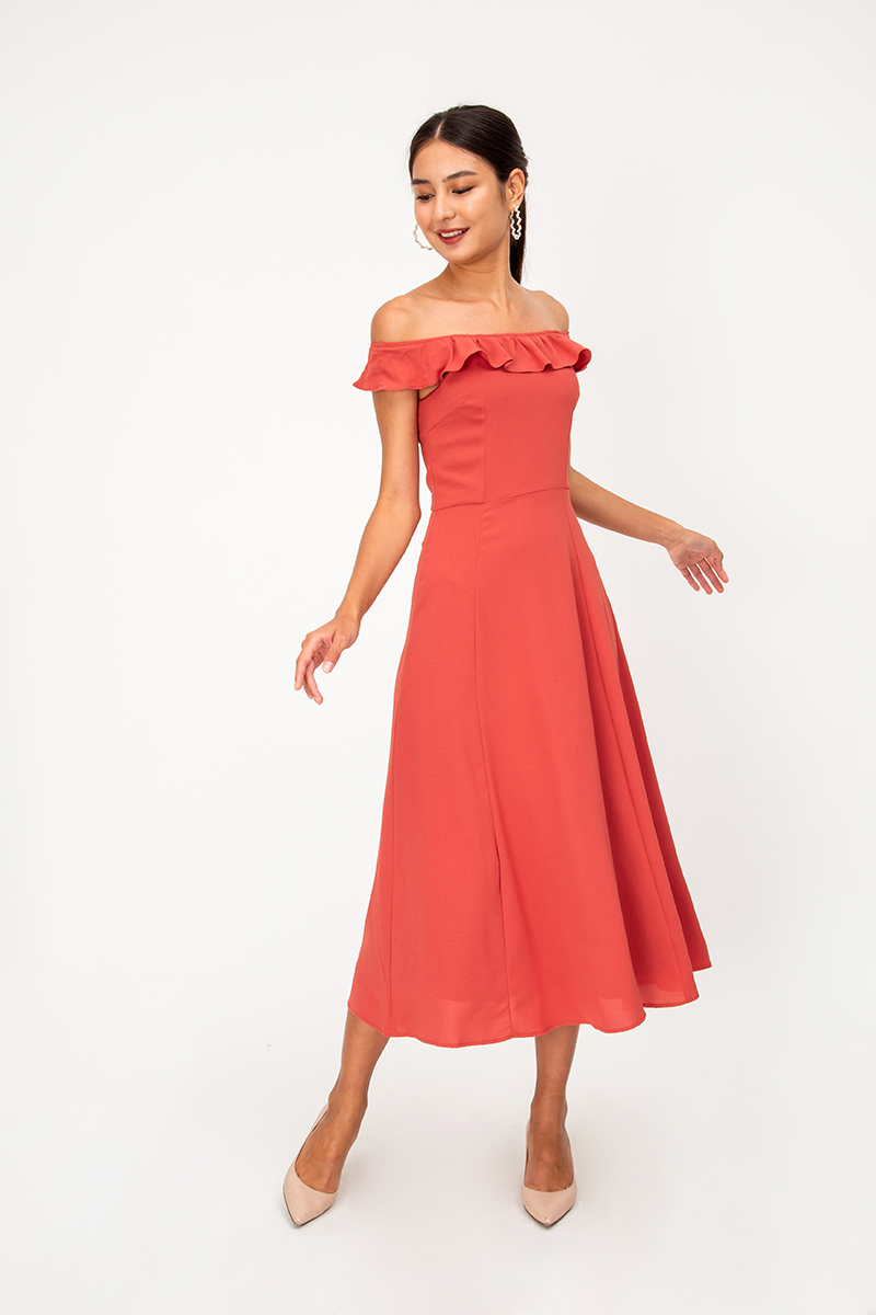 NILA RUFFLE OFFSHOULDER MAXI DRESS