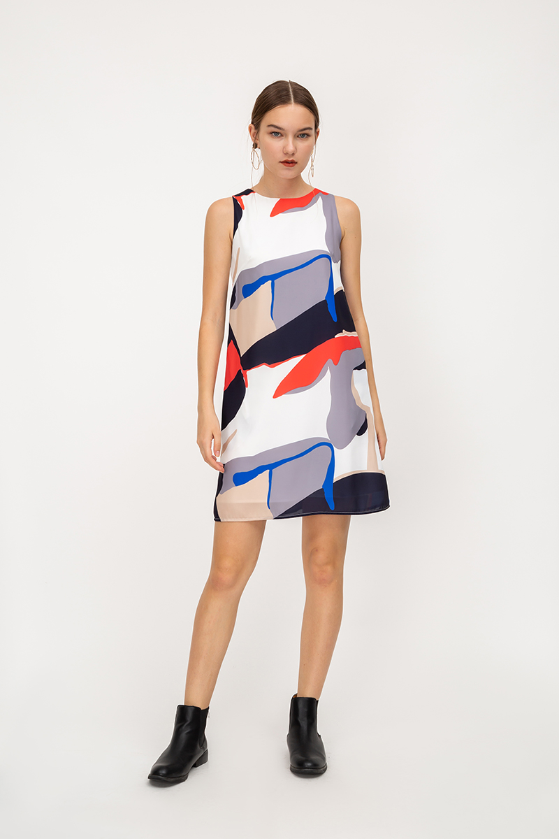 VALERIA ABSTRACT SHIFT DRESS