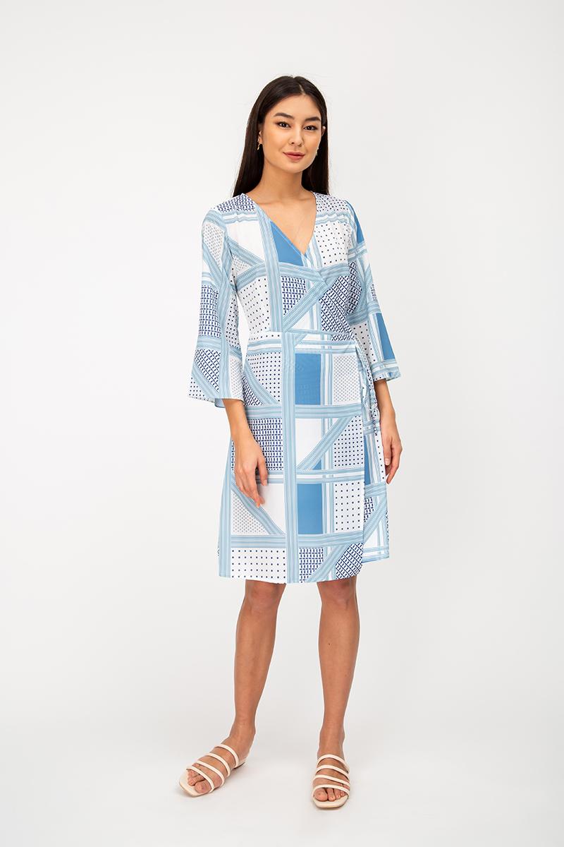 KAZAYA GEOMETRIC WRAP DRESS