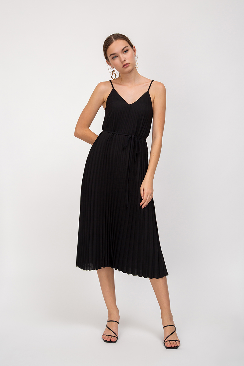 CELESTYN PLEATED MIDI DRESS