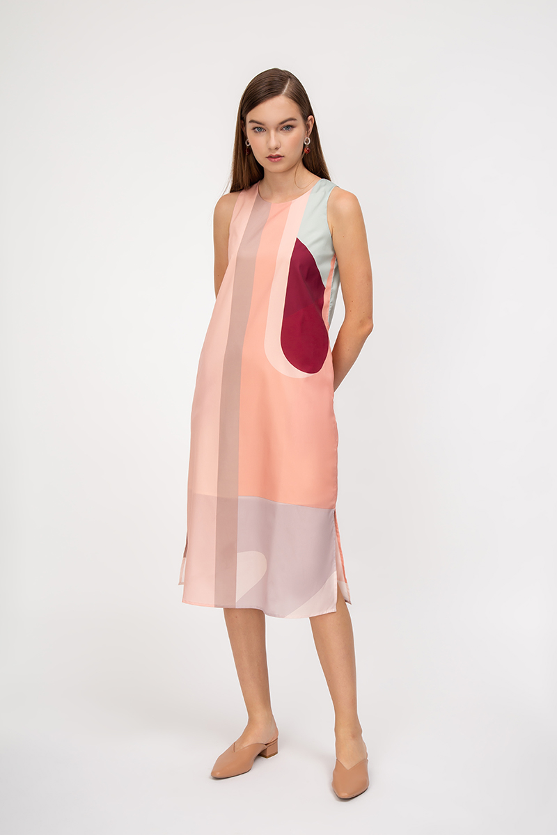 ESCAPADES ABSTRACT MIDI DRESS