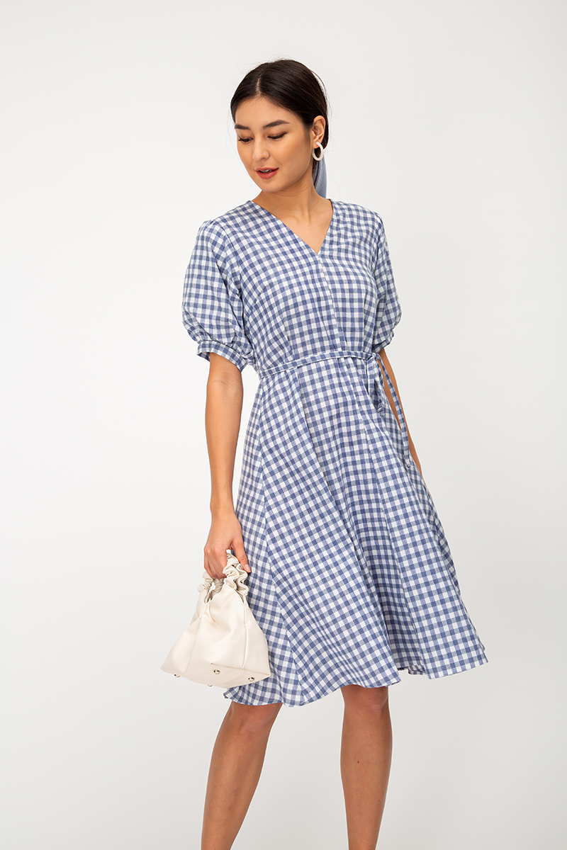 ABIGAIL CHECKERED PUFF SLEEVE MIDI DRESS W SASH
