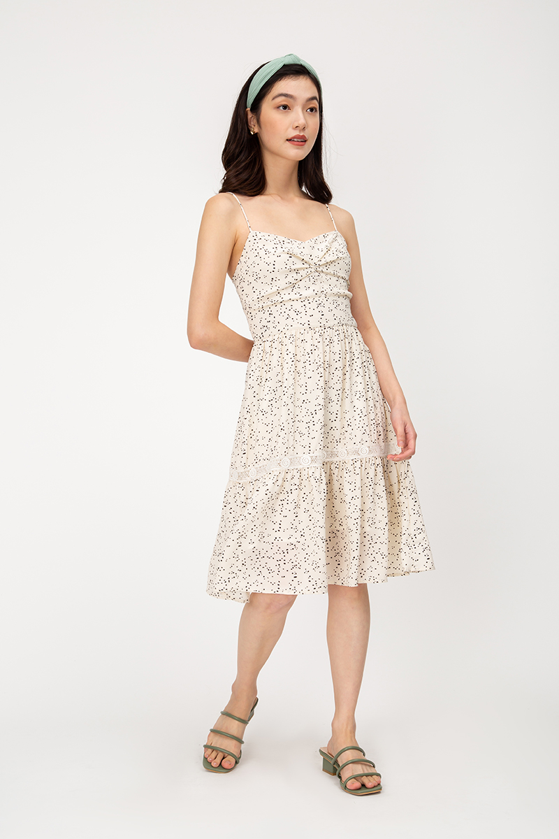 MOXIE DOTTED BUSTIER DRESS