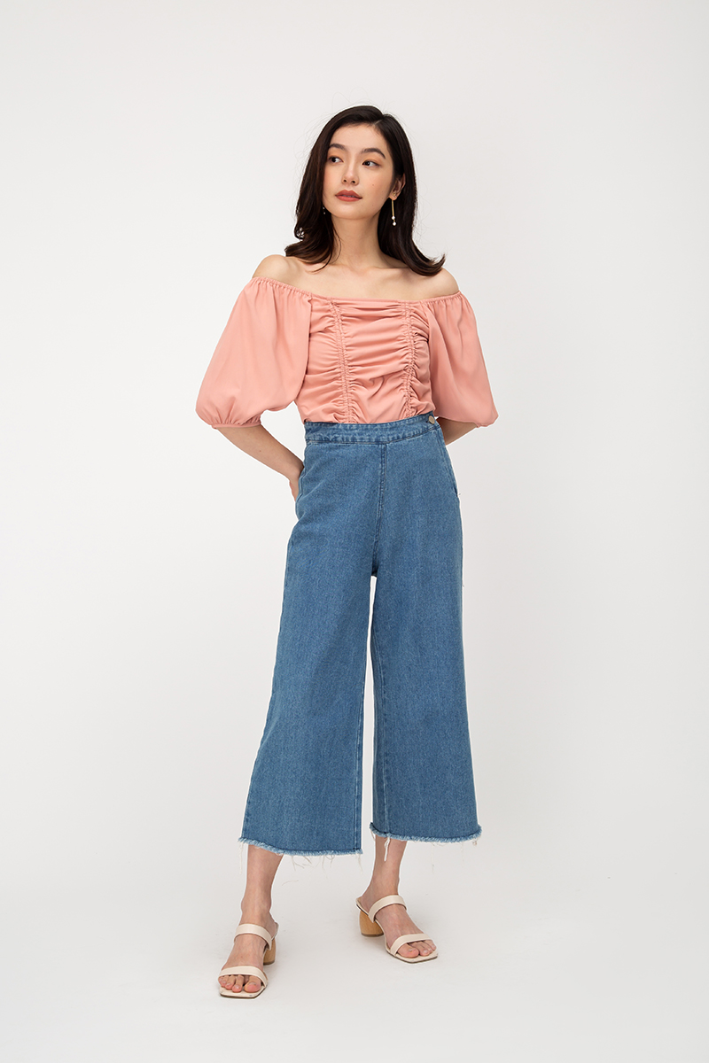 FERNICE RUCHED DRAWSTRING TOP