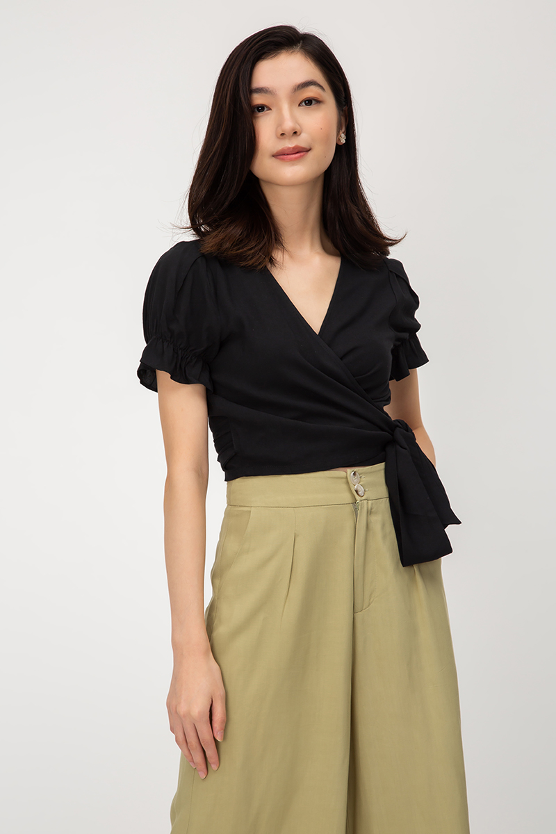 VERLA PUFF SLEEVE WRAP TOP