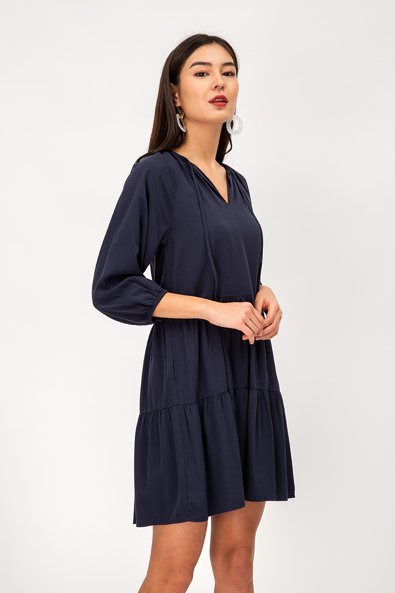FLYNN TENCEL TIERED FLARE DRESS