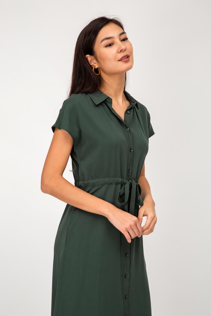 PERRIN TENCEL BUTTONDOWN DRAWSTRING SHIRT DRESS