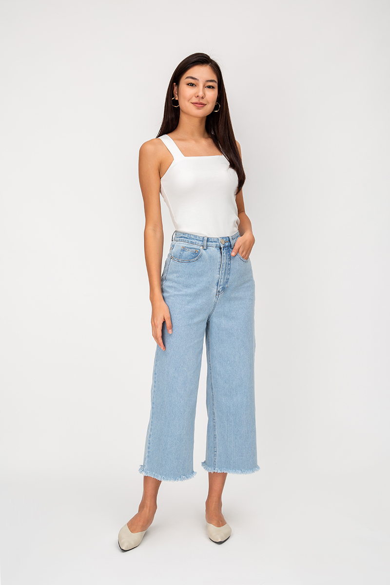 *BACKORDER 3* LIAM DENIM FRAYED HEM CULOTTES