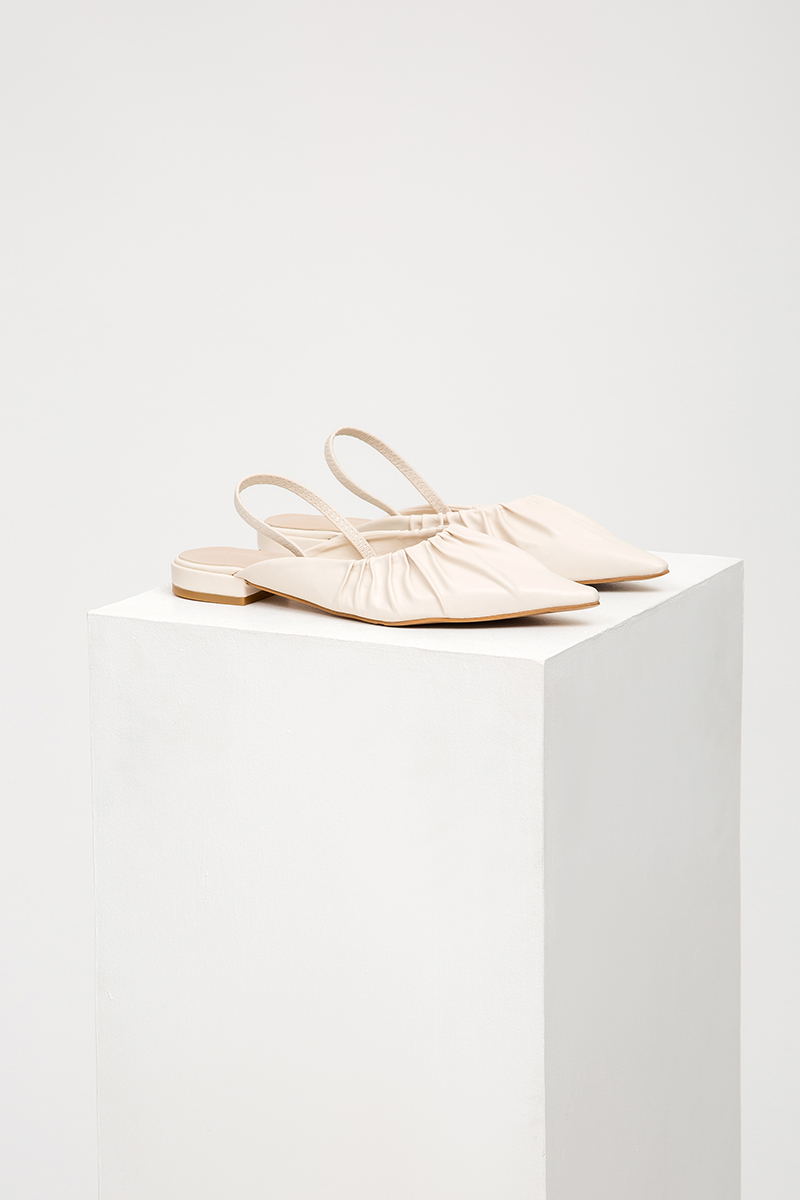 DARCIE RUCHED POINTED SLINGBACK FLATS